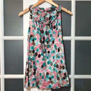 NWT Women's sz Small, silky top w/fun print & neck